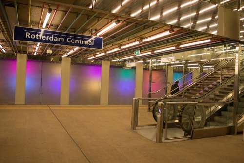 Rotterdam Lines Colors Lights Stairs