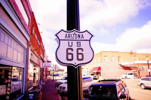 Route 66 Arizona Usa America Road Vintage Travel