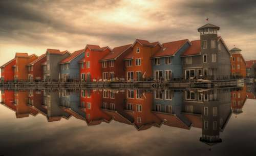 Row Houses Serial Houses Houses Reflection