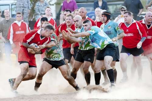 Rugby Sports Players Competition Rough Tackling