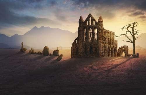 Ruin Monastery Graves Fantasy Lighting Sunlight