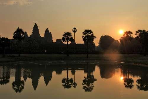 Ruin Architecture Angkor Wat Khmer Cambodia Old