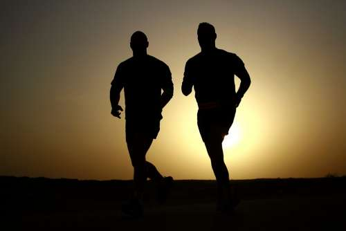 Runners Silhouettes Athletes Fitness Men Healthy
