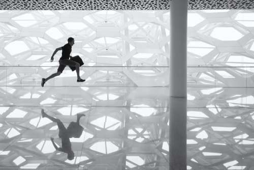 Running Man Glass Floor Reflection Glass Floor Man