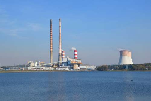 Rybnik Power Station Chimneys Refrigerators Lagoon