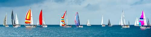 Sailboats Race Yachts Yacht Racing Start Ocean