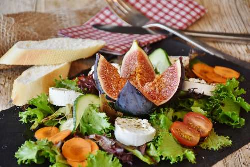 Salad Figs Cheese Goat Cheese Starter Food