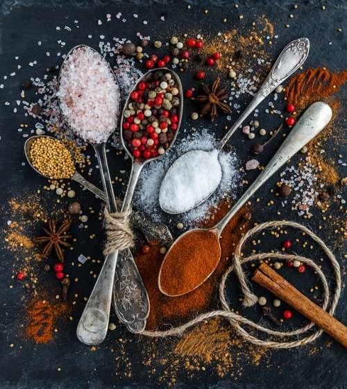 Salt Pepper Spoons Spices Ingredients Condiments