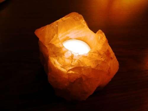 Salt Lamp Tealight Burn Romantic Atmospheric