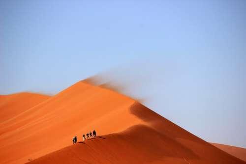 Sand Dunes Desert Hills Windy Hiking Hike Trek