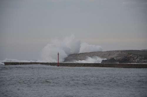 Santander Waves Costa Cliffs Coastal Marina