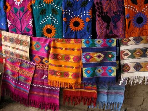 Scarf Mexico Towels Color Colorful Pattern Decor