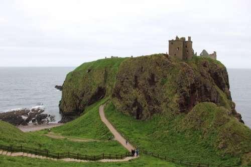 Scotland Ruin Sea Castle Old Landscape Highlands