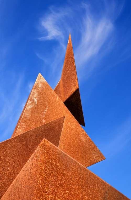 Sculpture Metal Rust Sky Clouds Section Cut Art