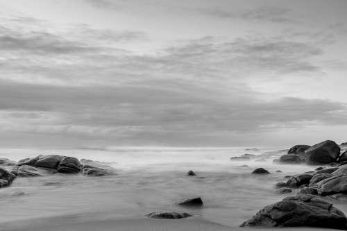 Sea Black And White Nature Landscape Mist Sky