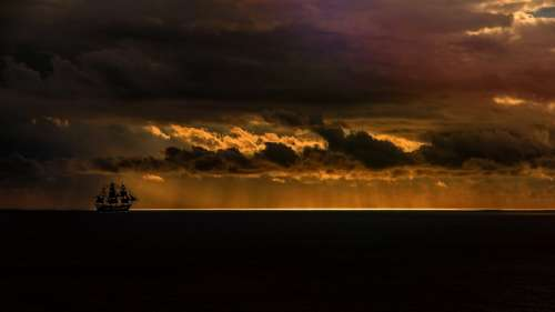 Sea Sailing Vessel Ocean Sunset Sky Dusk