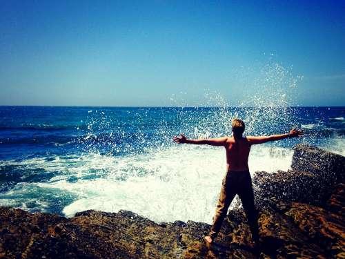 Sea Nature Man Person Beach Vacation Ocean Rocks