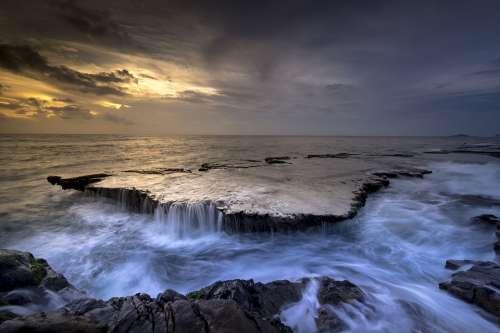 Sea Coast Cascade Reef Tide Water Flow Ocean