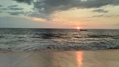 Sea Sunset Kerala India Nature Water Sun Sky
