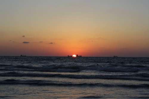 Sea Sunset Beach Horizon Tranquility