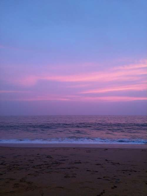 Sea Sunset Kerala Ocean Water Beach Sky Clouds