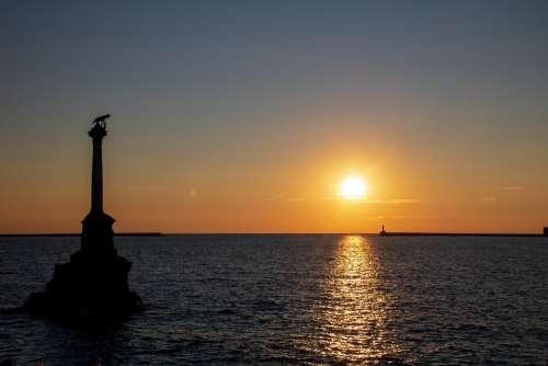 Sea Sunset Horizon Water Evening
