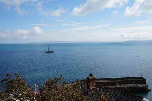 Sea Village England Devon Port Water Ocean Blue