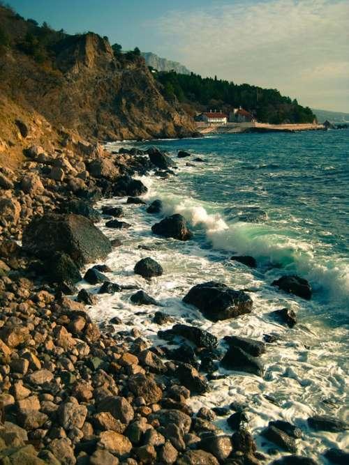 Sea Wave Rock Ocean Water Blue Beach Landscape