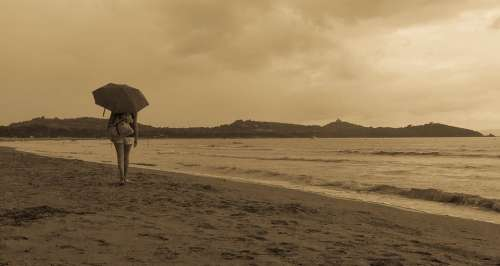 Sea Beach Girl Thought Sand Landscape Summer Sky