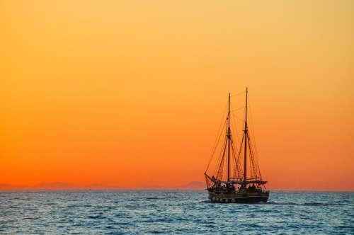 Sea Sailing Vessel Boat Ship Zweimaster Calm Rest