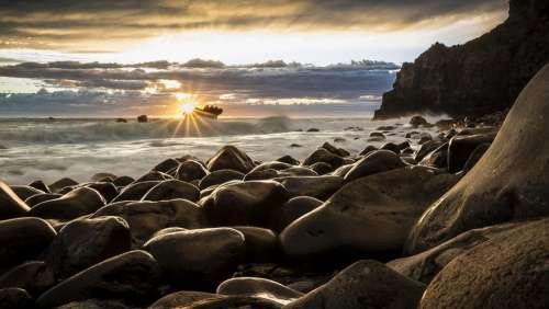 Seascape New Zealand Sunrise Landscape Pebbles