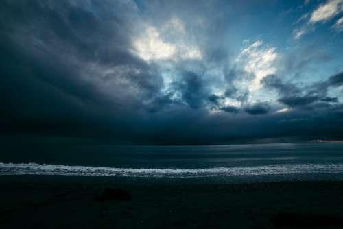 Seaside Stormy Sky Sea Storm Clouds Beach Ocean