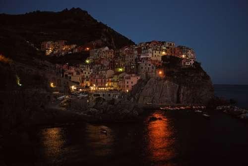Seaside Cinque Terre Night Buildings Lights Sea