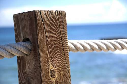 Seaside Sea Sky Post Wood Rope Ocean Summer