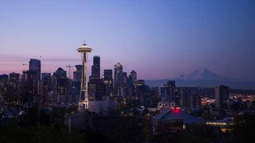 Seattle City Urban Cityscape Skyline Sunset