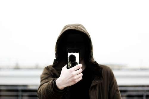 Selfie Mobile Phone Portrait Hood Hoodie
