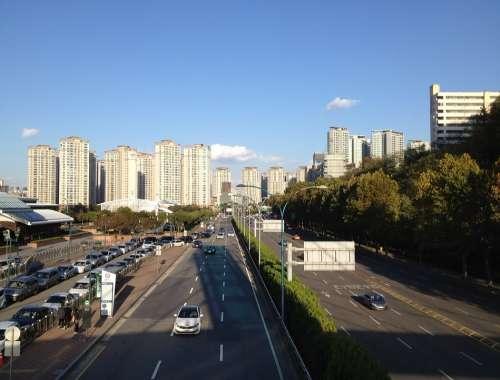 Seoul Korea City Asian Street Cars Buildings