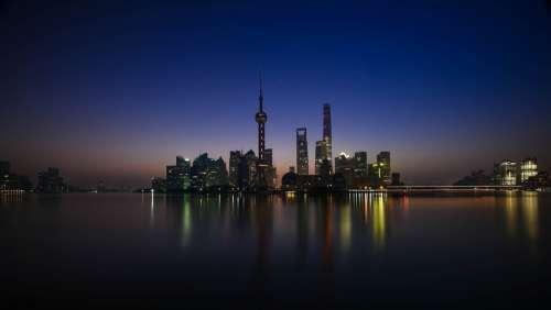 Shanghai City Night Lights Reflection Skyscrapers
