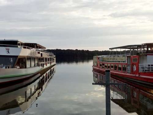 Ship Lake Evening Port Berlin Tegel