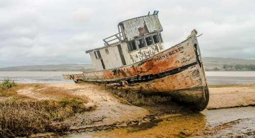 Shipwreck Ship Wreckage California Bay Ocean Boat
