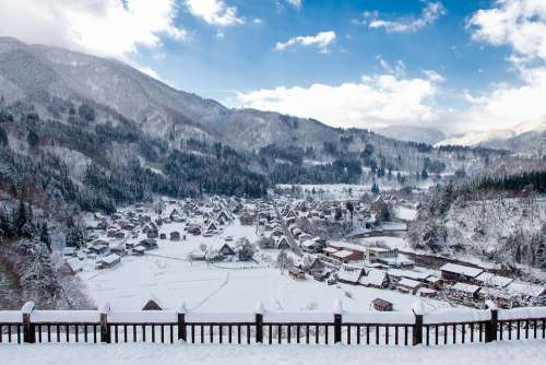 Shirakawa-Go Thatched Roof Thatch Winter Snow