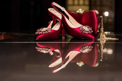 Shoe Ladies Reflection Red Colourful Mirror