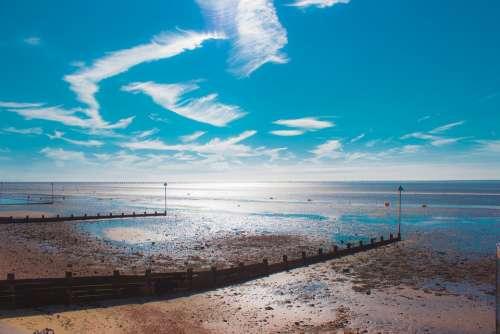 Shoeburyness Low Tide Sea Clouds England Seaside