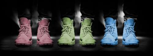 Shoes Mode Colors Black Background Red Green Blue