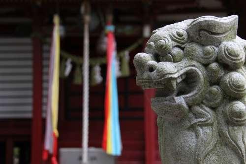 Shrine Guardian Dogs Japan Stone Statues Sculpture