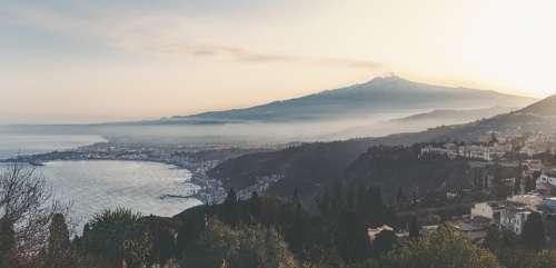 Sicily Etna Taormina Italy Landscape Sea Mountain