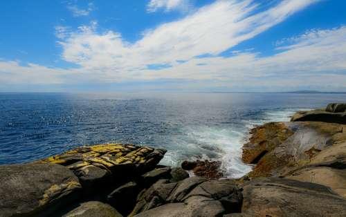 Side Sea Ocean Rocks Sky Clouds Nature Summer