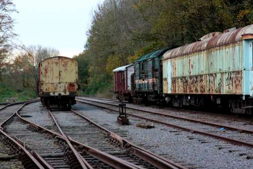 Siding Discarded Wagon Trains Railway Station