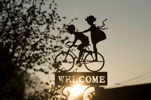Sign Bicycle Decoration Bike Children Welcome