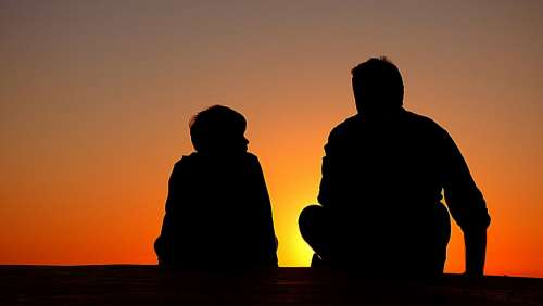 Silhouette Father And Son Sundown Chat Advice